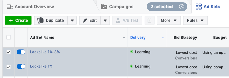 Facebook conversion ads  learning phase